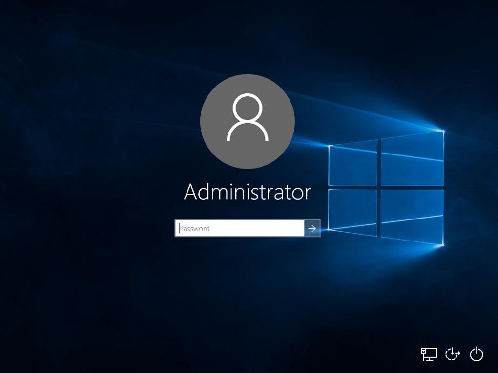 Windows 10, schermata di blocco, utente, password