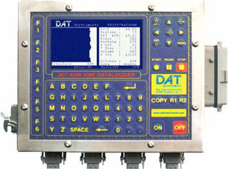 DAT instruments, JET 4000 AME J, datalogger, drilling, jet grouting, soil mixing, CFA, vibroflotation, sensors, depth, torque, force, inclination, rotation, tilt, encoder, LCD, computer, keyboard, pen drives