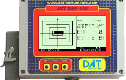 DAT instruments, JET DSP 100 D, dwalls datalogger, diaphragm walls, dwalls, sensors, inclination, rotation, compass, tilt, depth, encoder, LCD, computer, keyboard, display