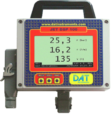 DAT instruments, JET DSP 100 IR, grouting datalogger, pressure sensor, flow sensor, quantity sensor, grout, Lugeon test, Lugeon, Permeability, LCD, computer, keyboard, display