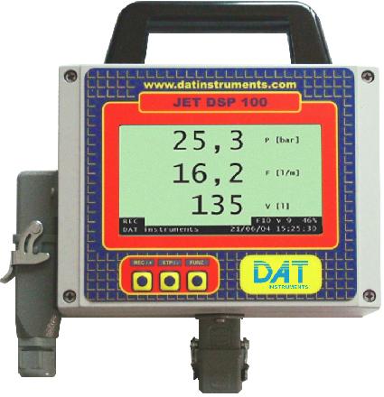DAT instruments, JET DSP 100 IR, datalogger, sensore di pressione, portata, volume, Lugeon, LCD, computer, tastiera, display.