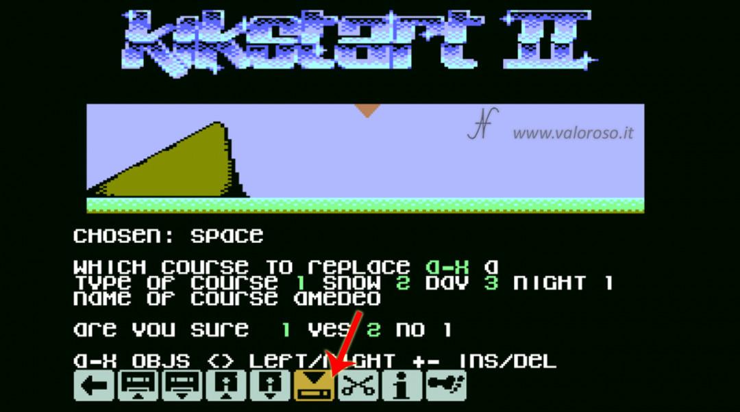 KikStart 2 KickStart II videogioco Commodore 64 impostare creare pista sostituire snow day night notte neve giorno, sostituire le piste, modificare le corse