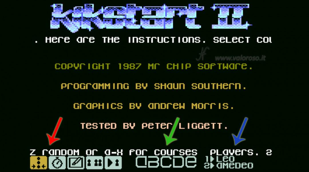 KikStart 2 KickStart II Kik-Start videogioco Commodore 64 motocross impostare giocatori piste, icone, gara, cronometro, crea piste, uno o due giocatori, nome giocatori