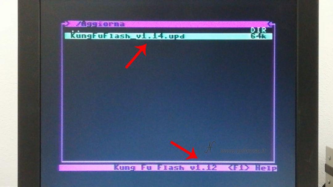 Kung Fu Flash aggiornamento firmware, Commodore 64, caricamento file UPD update upgrade