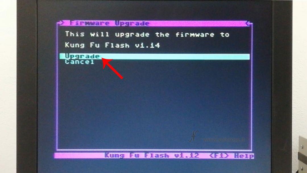 Kung Fu Flash aggiornamento firmware, Commodore 64, conferma UPD update upgrade, cartuccia, ROM, software