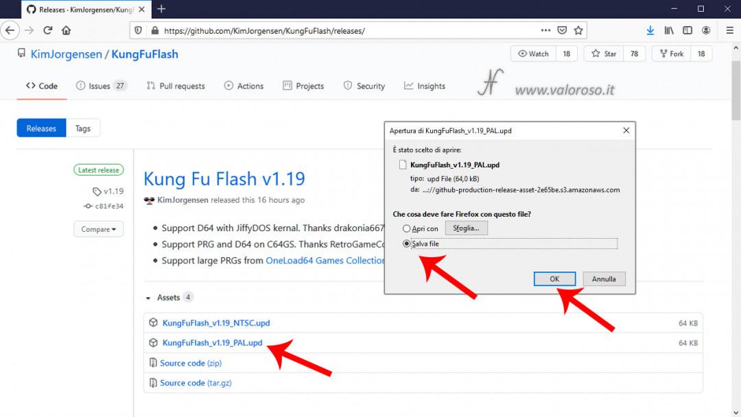 Kung Fu Flash aggiornamento firmware GitHub KimJorgensen, Commodore 64, salve file UPD, ultima versione software, 1.16, 1.17, 1.18, 1.19
