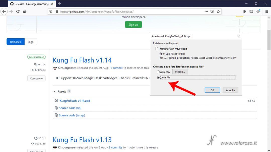 Kung Fu Flash aggiornamento firmware GitHub KimJorgensen, Commodore 64, salve file UPD, ultima versione software