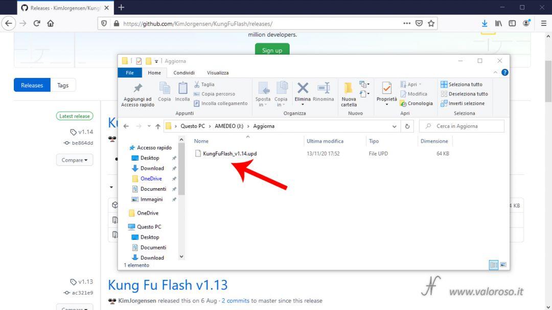 Kung Fu Flash aggiornamento firmware GitHub KimJorgensen, Commodore 64, salve file UPD microSD, ultima versione ROM