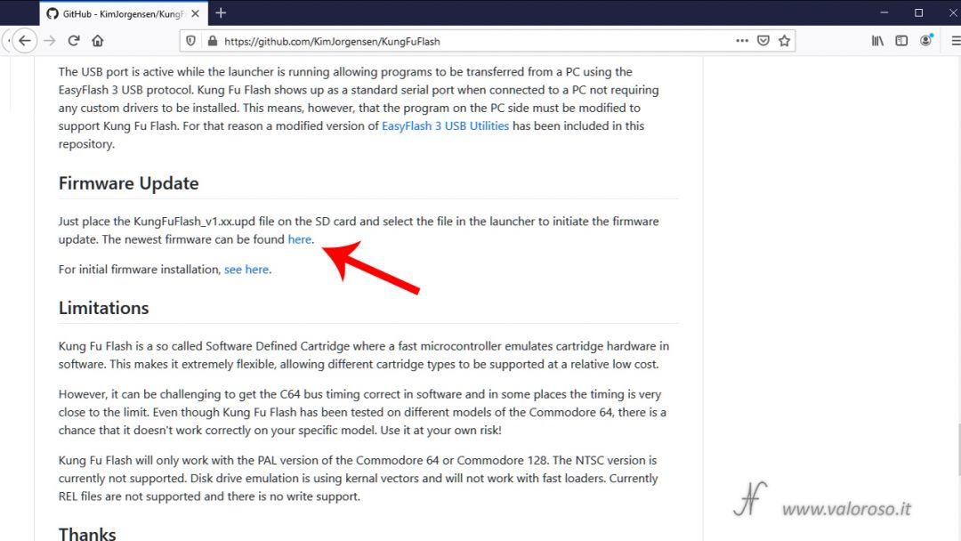 Kung Fu Flash aggiornamento firmware GitHub KimJorgensen, Commodore 64, ultima versione update upgrade, scaricare nuova versione