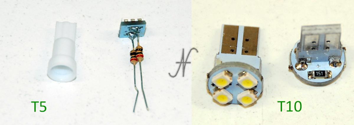 Lampadine a LED, lampade, luci di posizione T5 W3W T10 W5W funzionanti, resistori