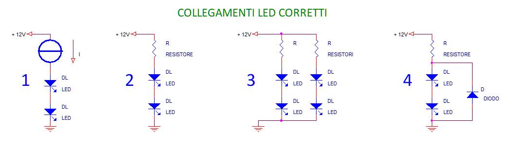 Lampadine a LED, collegamenti corretti, parallelo, resistenza, resistore