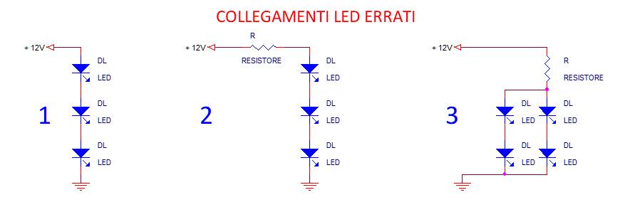 Lampadine a LED, collegamenti errati, surriscaldamento, parallelo