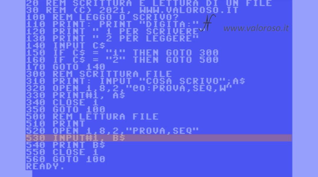 Leggere un file in Basic, Commodore 64 128 Vic20 16 PET, leggere una stringa su un file di testo INPUT#