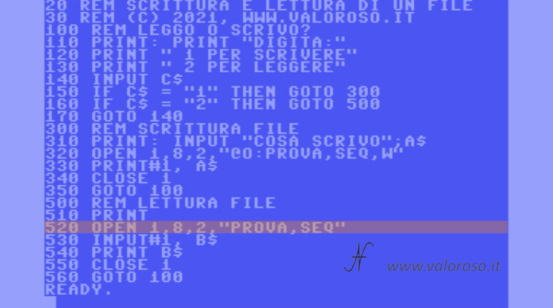 Leggere un file in Basic, Commodore 64 Vic20 16 128 PET, OPEN file sequenziale in scrittura SEQ