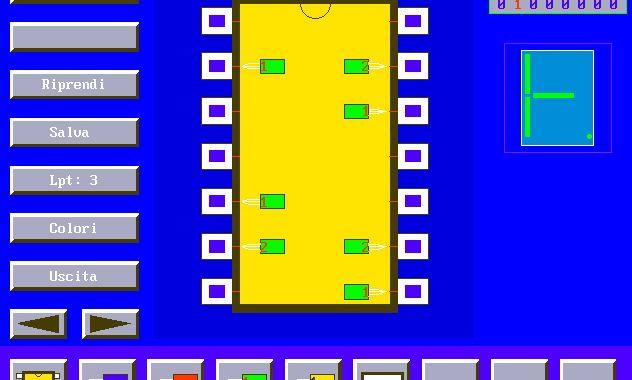 MPLEX, sonda per porte logiche, circuiti integrati, porta LPT, QBasic, QuickBasic
