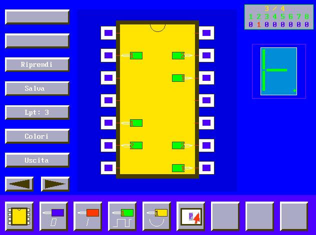 MPLEX, sonda per porte logiche, circuiti integrati, porta LPT, QBasic, QuickBasic, tester porte logiche