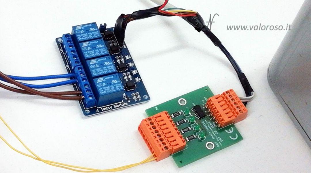 Macchina da caffè comandata dal Commodore 64, interfaccia rele fotoaccoppiatori, user port, porta PB, modulo 4 relay, tensione di rete