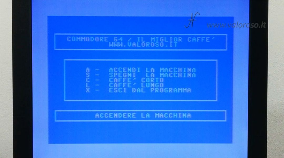 Macchina da caffè comandata dal Commodore 64, programma Basic caffe.prg caffè.txt, il miglior caffè