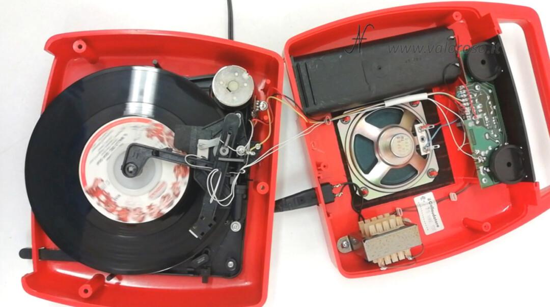 Mangiadischi Penny MusicalNastro MusicalSound smontare aprire interno meccanica trasformatore altoparlante 1W amplificatore motore puntina testina disco