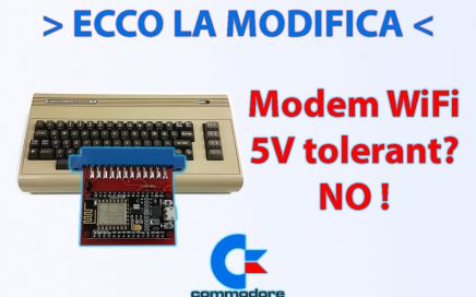 Modifica modem WiFi Commodore 64, NodeMCU, ESP8266, 5V tolerant? No! 3.3V. Modifica con diodo su RX