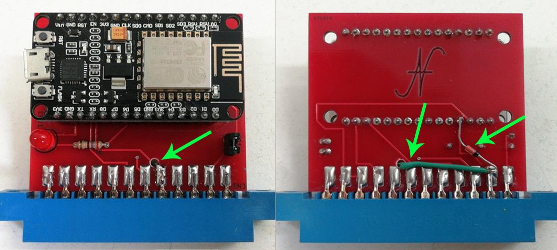 Modifica modem WiFi Commodore 64, NodeMCU, ESP8266, aggiunta diodo