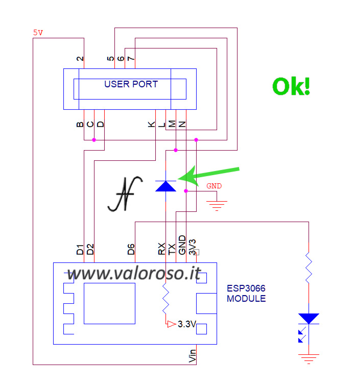 Modifica modem WiFi Commodore 64, NodeMCU esp8266, schema corretto con aggiunta diodo 1N4148 o Schottky