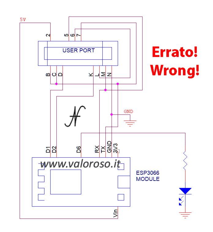Modifica modem WiFi Commodore 64, NodeMCU esp8266, schema errato sbagliato, non è 5V tolerant