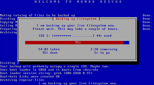 MondoArchive, Mondo Rescue, backing up filesystem