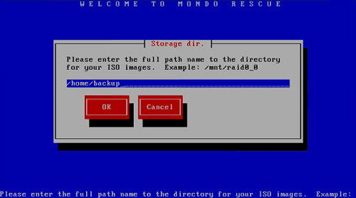 MondoArchive, Mondo Rescue, server backup, please enter full path name for your ISO images