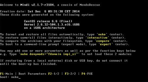 MondoRescue, MINDI, restore from DVD, ISO file, nuke, server restore