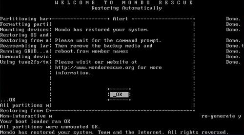 MondoRescue, server restore from DVD, ISO file, nuke, server restore, Mondo has restored your system