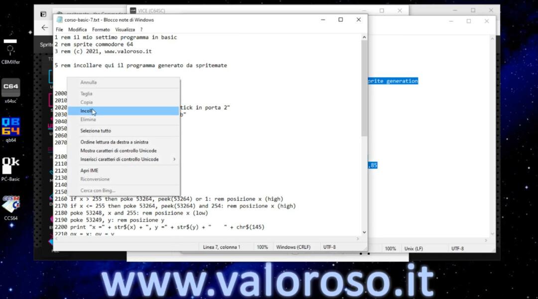 Muovere uno sprite con il Commodore 64, tastiera e joystick, Basic, tutorial programma di esempio