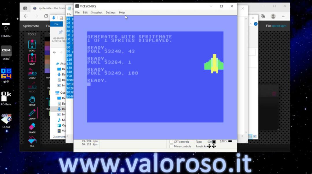 Muovere uno sprite sul monitor del Commodore 64, POKE 53248 53249 53264 coordinate X e Y, 255