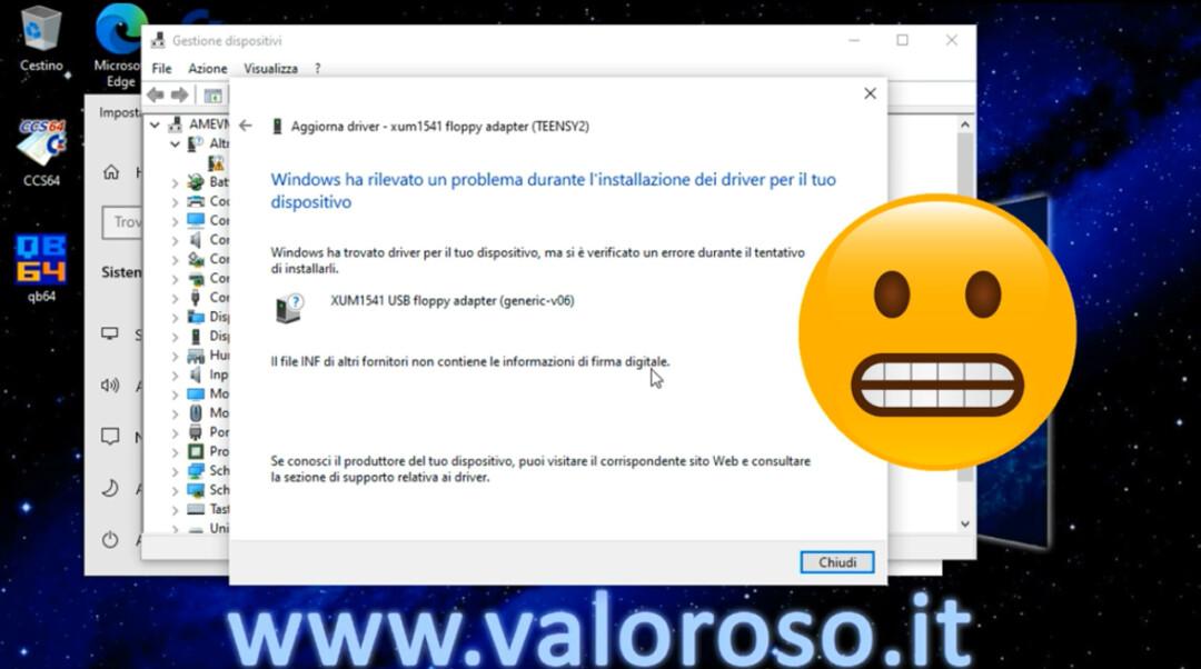 OpenCBM XUM1541 errore installazione driver su Windows 10, firma digitale, impossibile installare i driver, non funziona