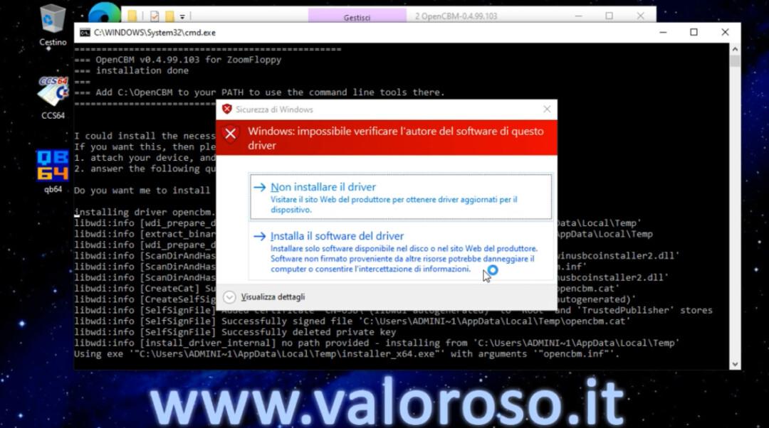 OpenCBM XUM1541 installazione Windows 10, impossibile verificare l'autore, installa software driver