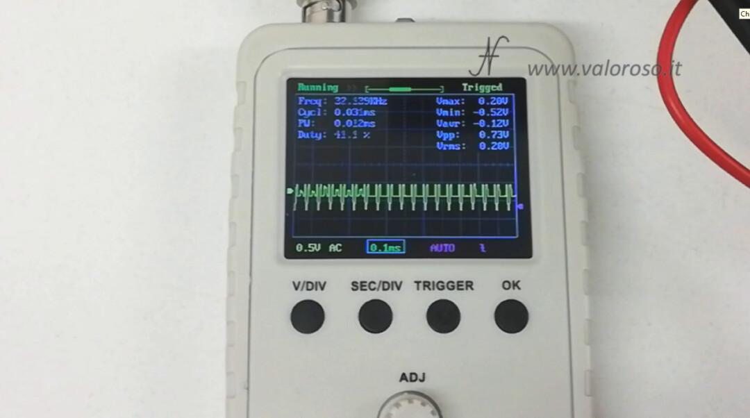Oscilloscopio segnale crominanza chroma SVideo S-Video 1Vpp ampiezza volt picco picco