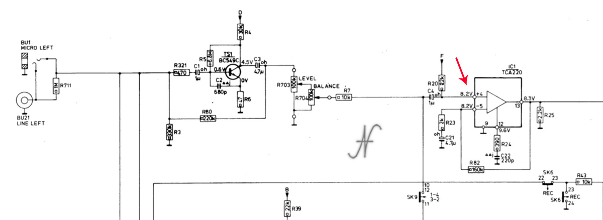 Philips N4504, Aristona EW5504, schema elettrico sezione registrazione, tensioni
