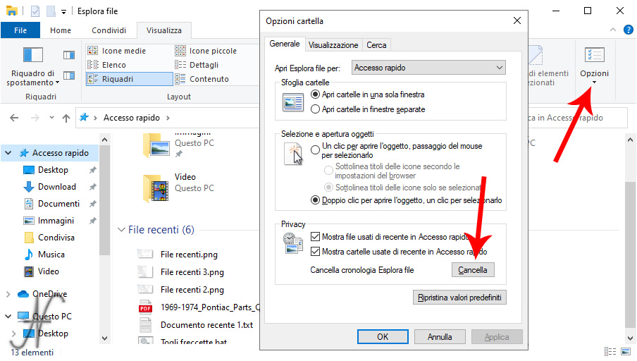 Privacy Windows 10, cancellare cronologia esplora file, dati recenti, tracce uso PC