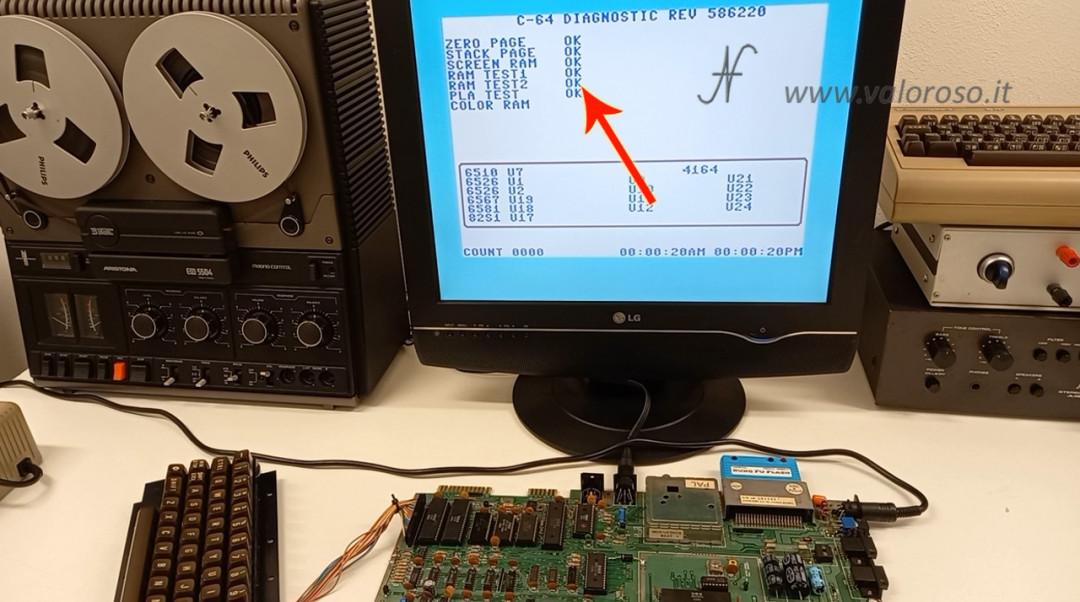 Test RAM del Commodore 64 con Kung Fu Flash diag test 586220 4164, MT4264, HM4864P, M3764, memoria ok