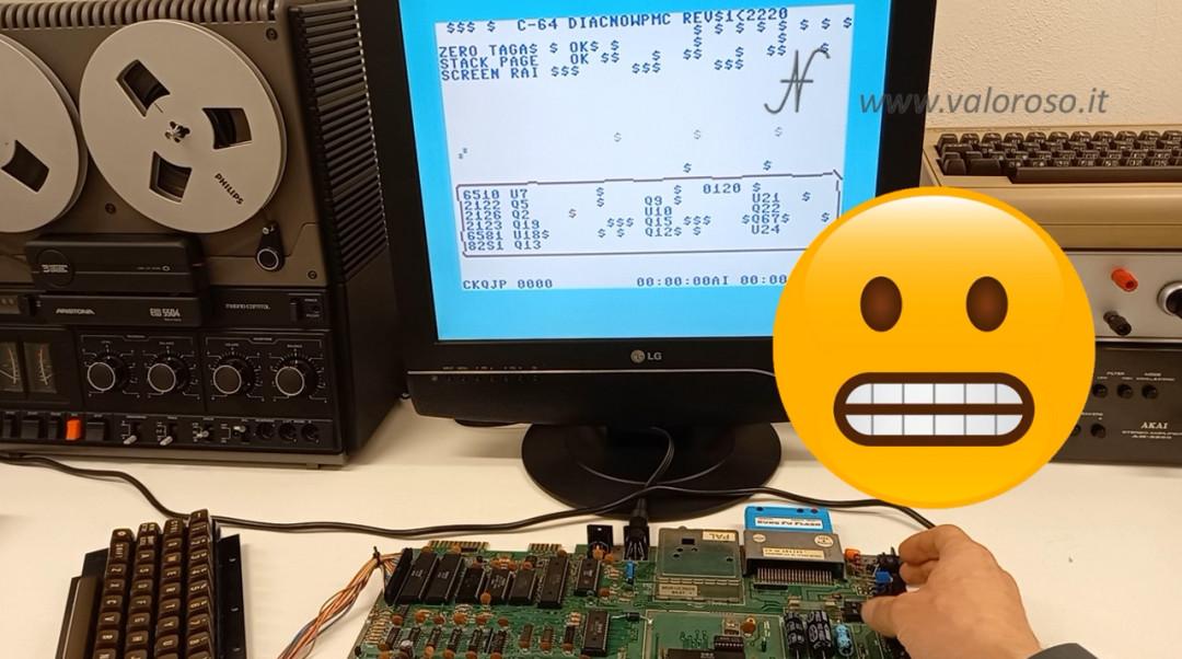 Prova RAM Commodore 64 diagnostico test 586220 4164, MT4264, HM4864P, M3764, memoria errore fail