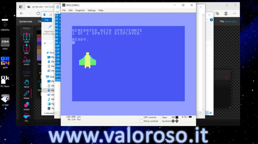 Provare con emulatore VICE il programma in Basic, sprite per il Commodore 64 generato automaticamente da SpriteMate RUN