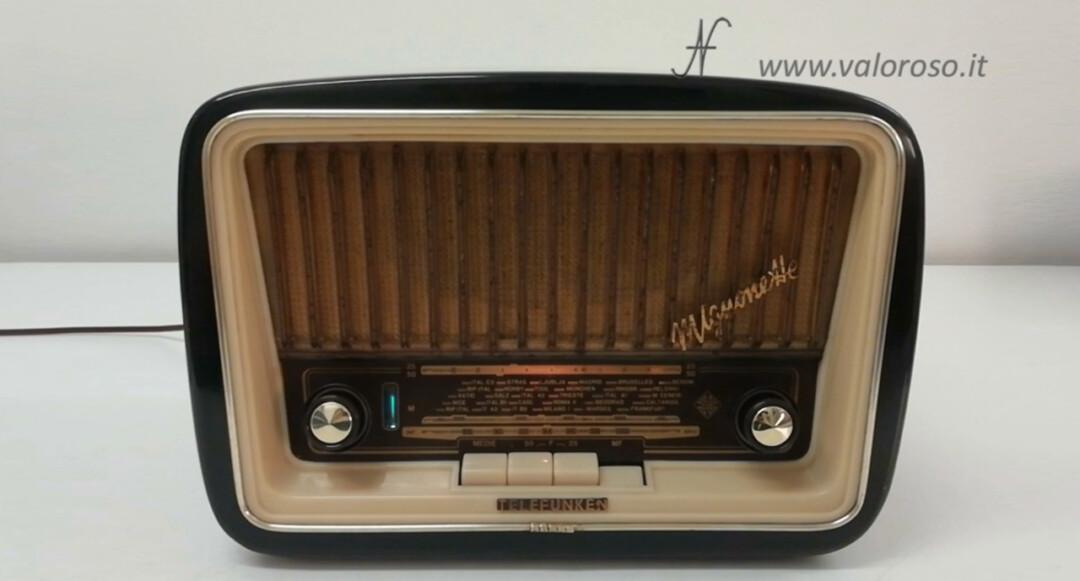 Radio a valvole Telefunken Mignonette MF R210, valvolare radio epoca vintage, 1955 1956 1950 URRT, Ultimo Ritrovato Della Retro Tecnologia RetroTecnologia restaurata pulita, uch81 uy85 ecc85 uf89 eabc80 el84 om70, banda om oc mf onde medie, onde corte, modulazione frequenza FM