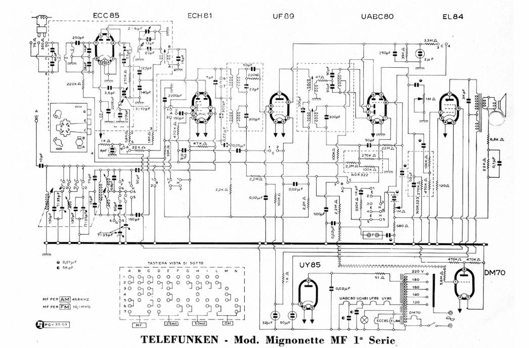 Radio a valvole Telefunken Mignonette MF R210, valvolare vintage, schema elettrico collegamenti componenti, uch81 uy85 ecc85 uf89 eabc80 el84 om70, banda om oc mf onde medie, onde corte, modulazione frequenza FM