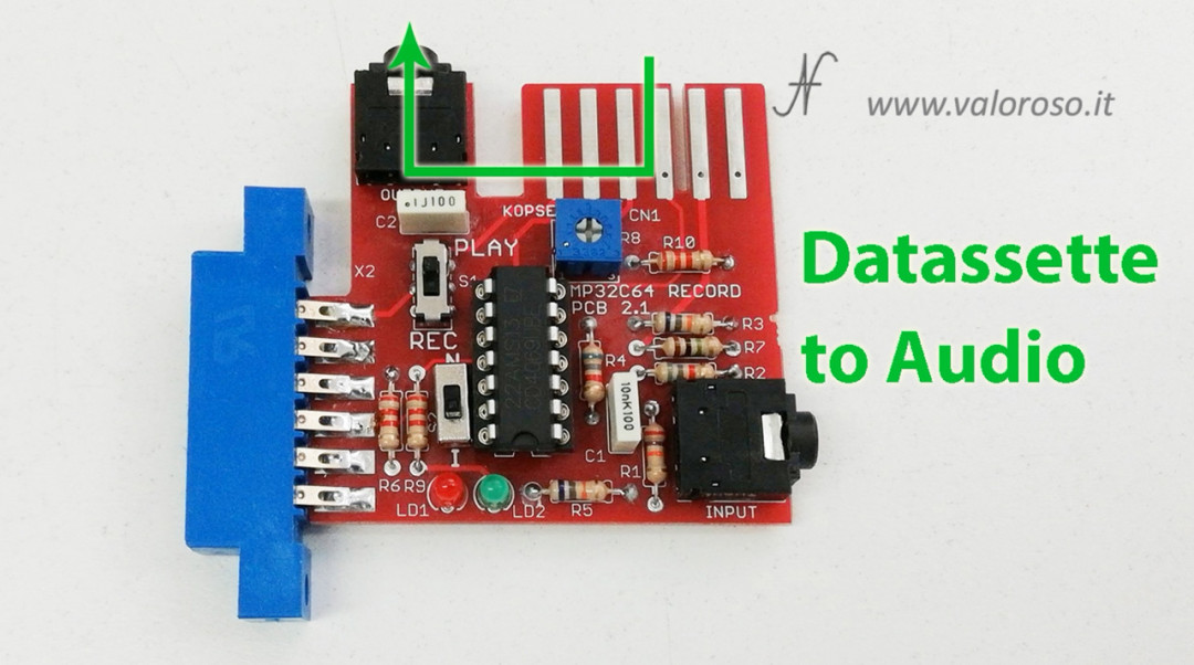 Registratore a bobine collegato al Commodore 64 MP32C64 C64 datassette MP3 WAV, modalità standard per registrazione da datassette a MP3