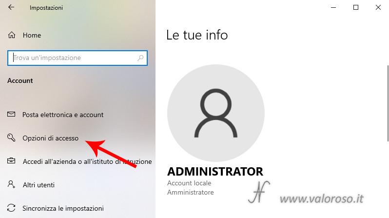 Windows 10, impostazioni, account, opzioni di accesso