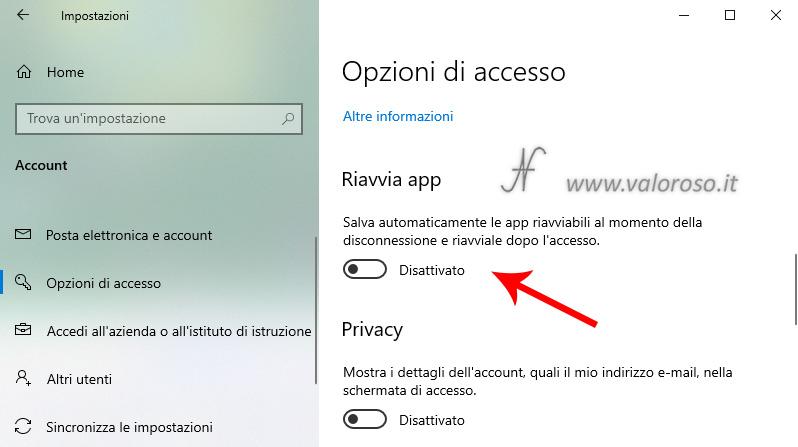 Riavvio automatico applicazioni all'avvio di Windows 10, 2004, riavvio programmi, impostazioni, opzioni di accesso, salva automaticamente le app riavviabili al momento della disconnessione e riavviale dopo l'accesso
