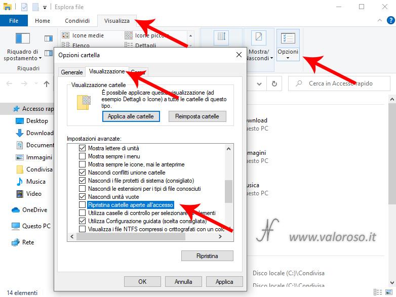 Riapertura automatica esplora file avvio Windows 10 explorer, visualizza, opzioni, opzioni cartella, visualizzazione, ripristina cartelle aperte all'accesso, attiva, disattiva