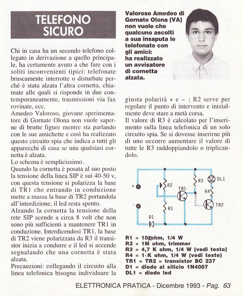 SPTEL, articolo, telefono sicuro, Elettronica Pratica, dicembre 1993, Amedeo Valoroso