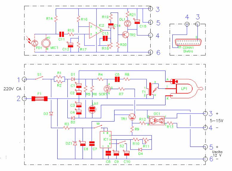 STROBO, Amedeo Valoroso, schema elettrico, lampada stroboscopica xenon, luce strobo, controllata da PC, lampada comandata dal suono