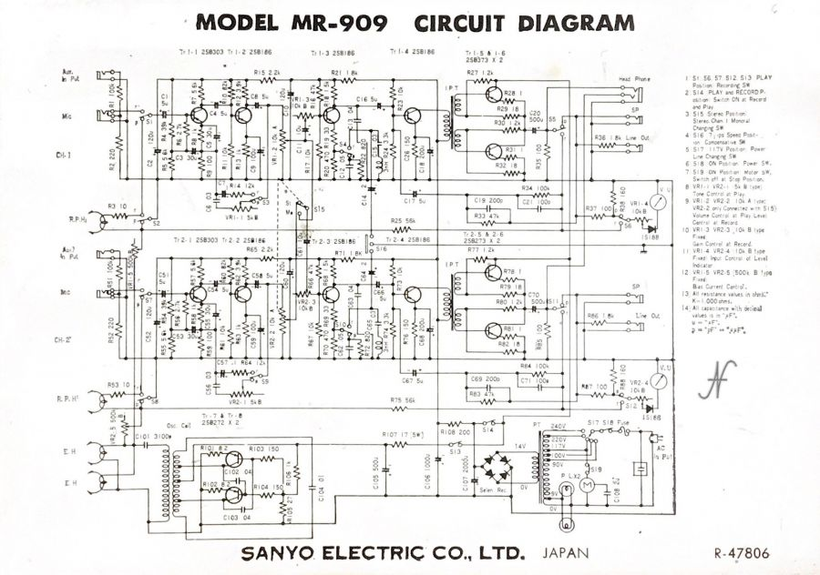 Sanyo MR-909, schema elettrico, wiring diagram